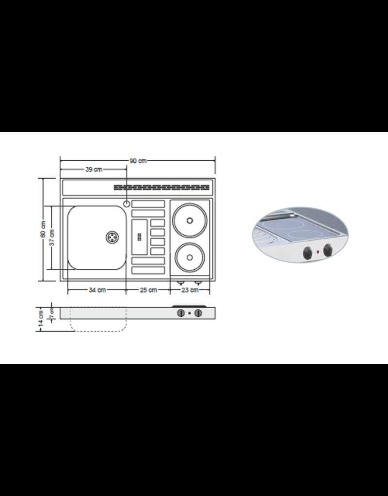 RVS aanrechtblad opleg 90cm x 60cm met 2-pit Keramische kookplaat KIT-285