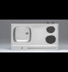 RVS aanrechtblad opleg 100cm x 60cm met 2-pit Elektrische kookplaat KIT-2550
