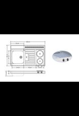 RVS aanrechtblad opleg 100cm x 60cm met 2-pit Keramische kookplaat KIT-2551