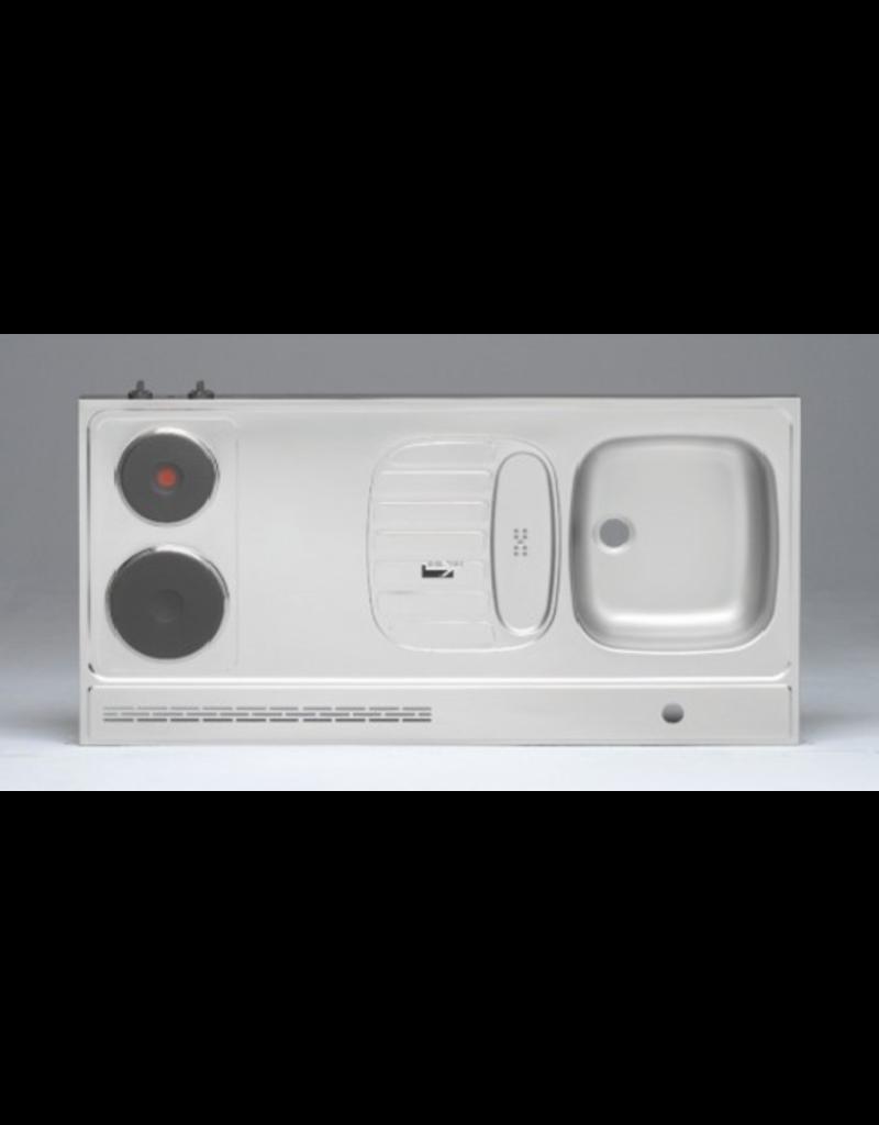 RVS aanrechtblad opleg 120cm x 60cm met 2-pit Elektrische kookplaat KIT-2553