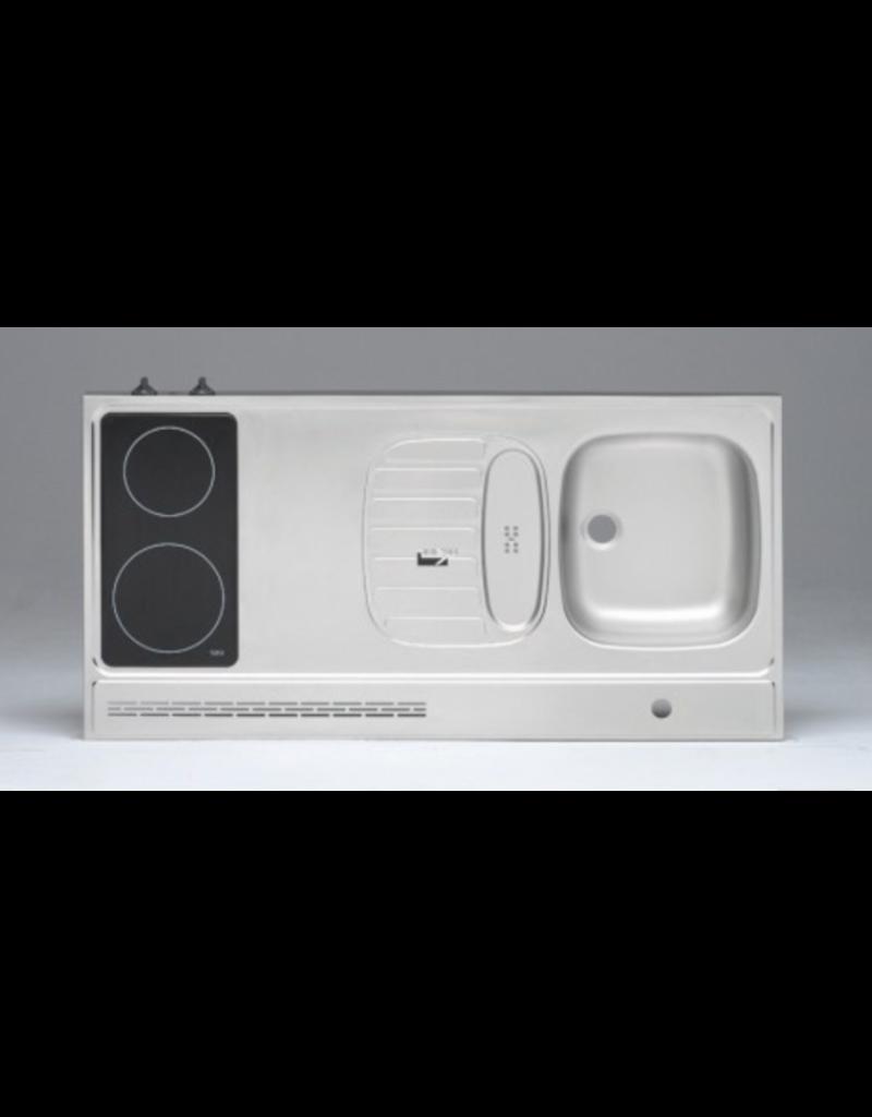 RVS aanrechtblad opleg 120cm x 60cm met 2-pit Keramische kookplaat KIT-2556