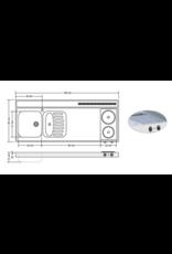 RVS aanrechtblad opleg 150cm x 60cm met 2-pit Keramische kookplaat KIT-253
