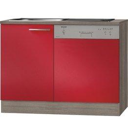 Keukenblok incl vaatwasser Imola signaal rood satijn (BxHxD) 110 x 84 x 60 cm KIT-11660