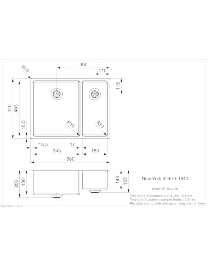Spoelbak vierhoekig NEW YORK 34X40+18X40 (L) INTEGRATED KIT-9432
