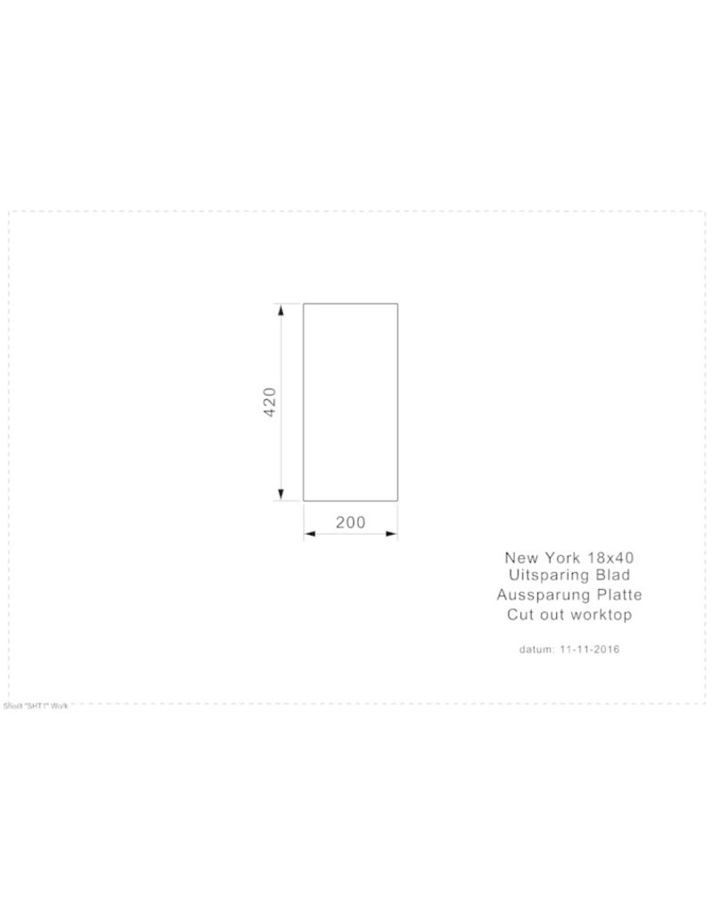 spoelbak vierhoekig NEW YORK 18X40 (L) INTEGRATED KIT-473