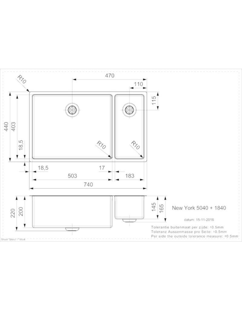 NEW YORK 50X40+18X40 (L) INTEGRATED KIT-3482