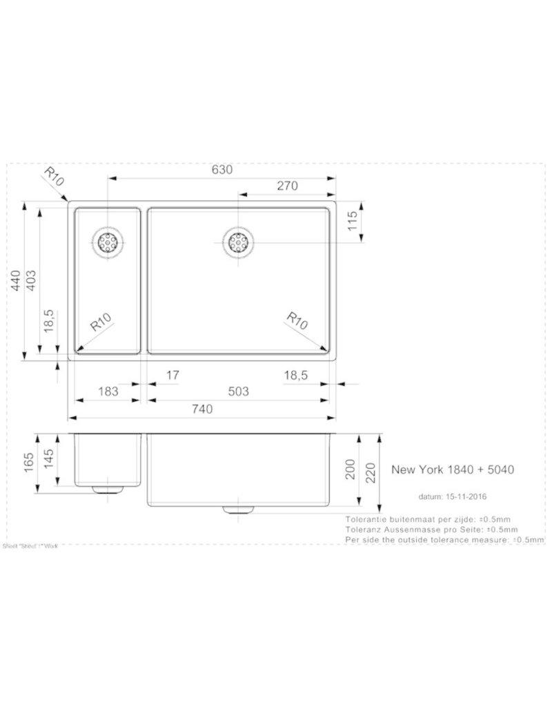 Spoelbak vierhoekig NEW YORK 18X40+50X40 (L) INTEGRATED KIT-23443