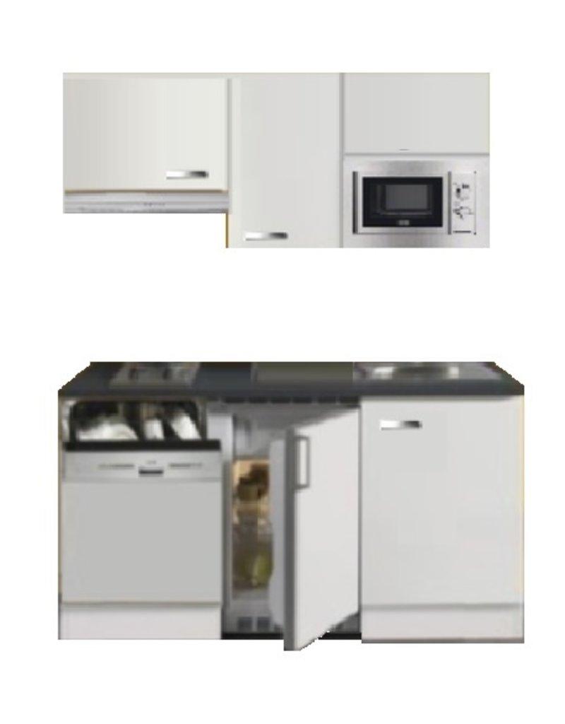 Kitchenette 160cm wit hoogglans met vaatwasser en koelkast en kookplaat en magnetron en afzuigkap KIT-4332