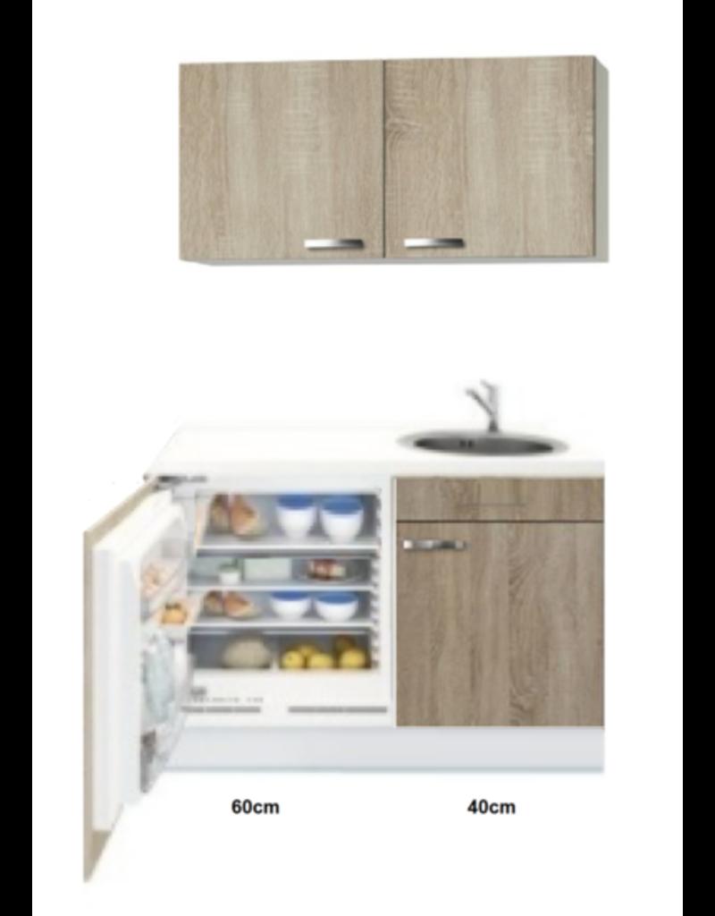 Kitchenette 100cm Houtnerf incl mini inbouw koelkast KIT-2254