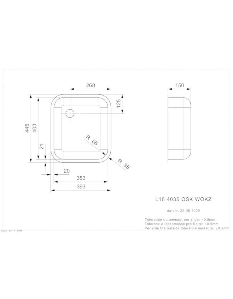 RVS inbouw spoelbak 400 x 350 mm VLAKBOUW KIT-100