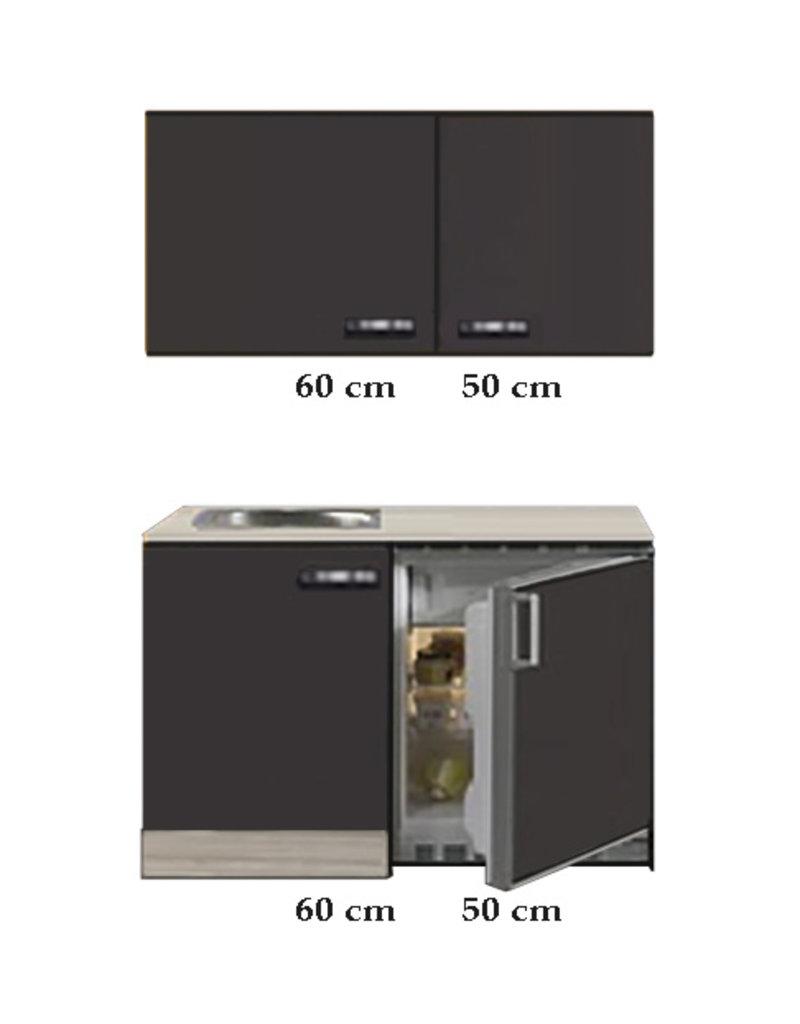 Keukenblok 110cm Antraciet met koelkast en rvs spoelbak KIT-43011
