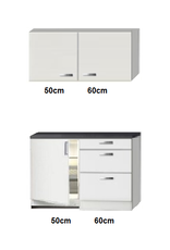 Keukenblok wit hoogglans 110cm met koelkast KIT-245
