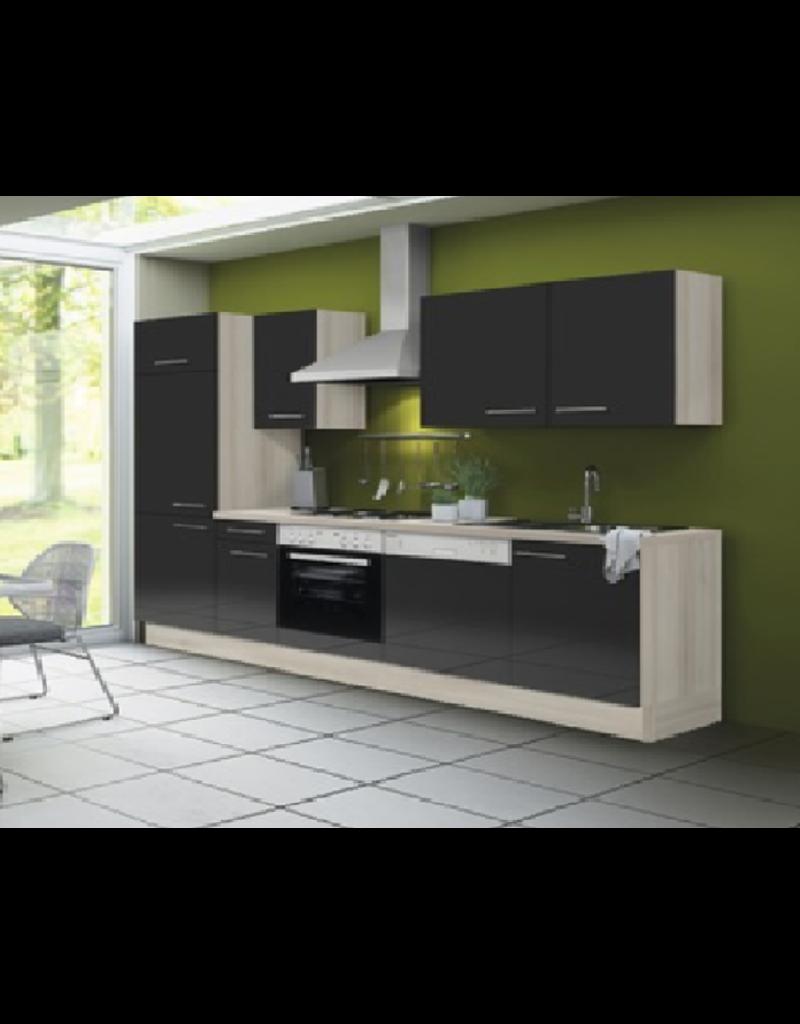 Keuken 280 cm antraciet hoogglans incl vaatwasser, keramisch kookplaat met oven en koelkast KIT-51100