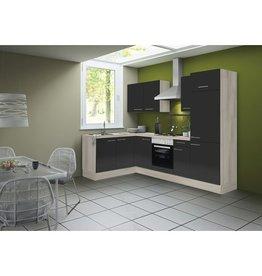 Hoek keuken Antraciet hooggland  270 cm incl. koelkast, oven, e-kookplaat en afzuigkap KIT-41002