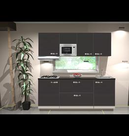 Keukenblok 210cm wit hoogglans incl gas-kookplaat, afzuigkap en magnetron KIT-11026