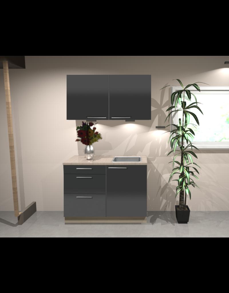 Keukenblok 100 cm Antraciet hoogglans KIT-1346