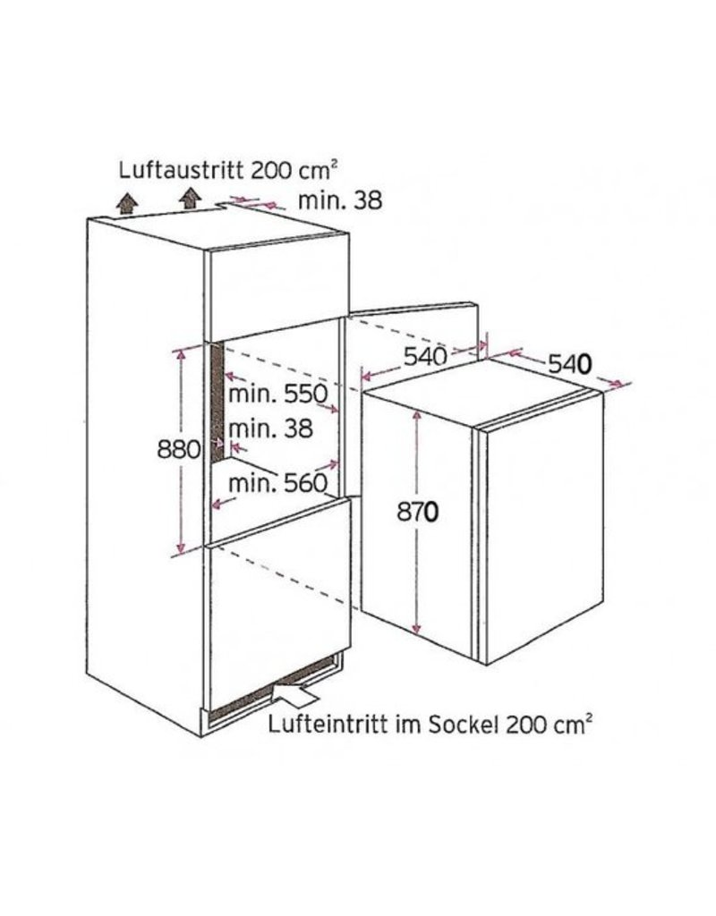 Inbouw koelkast met vriesvak KS120.4A + EBC KIT-5341
