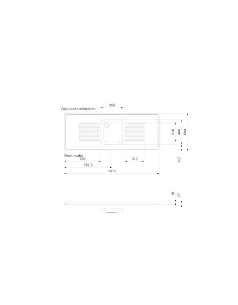 rvs aanrechtblad opleg 150cm x 60cm KIT-2500