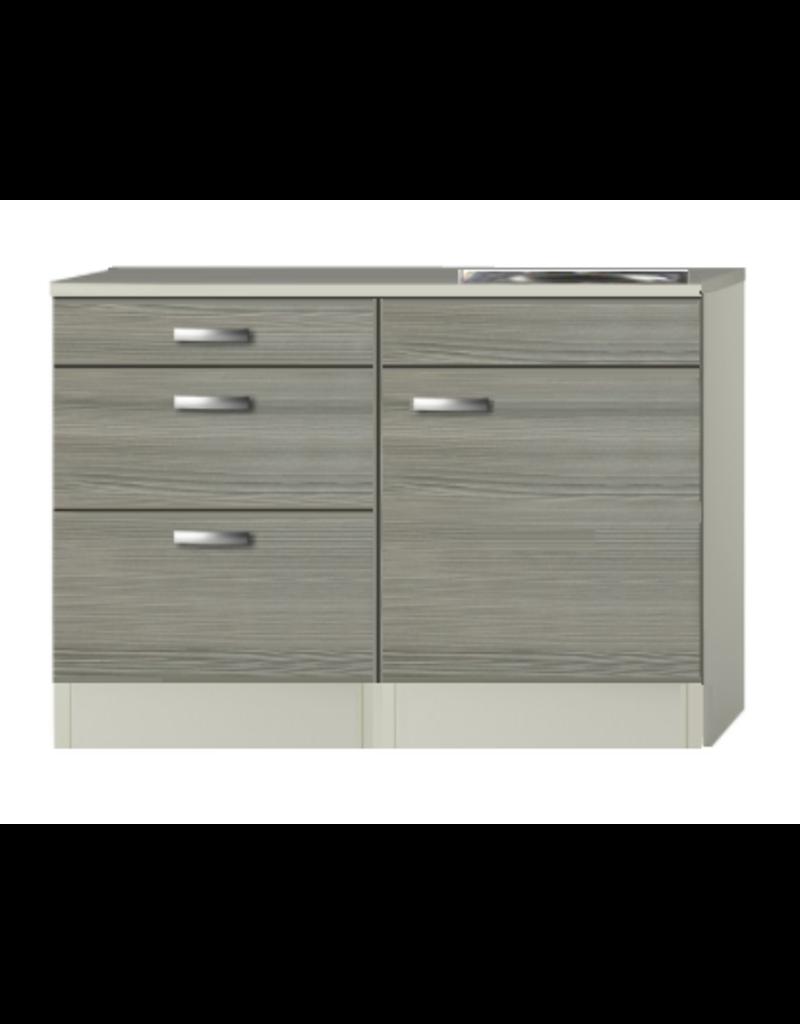 Keukenblok Grijs-bruin 120cm met 3 laden  KIT-515