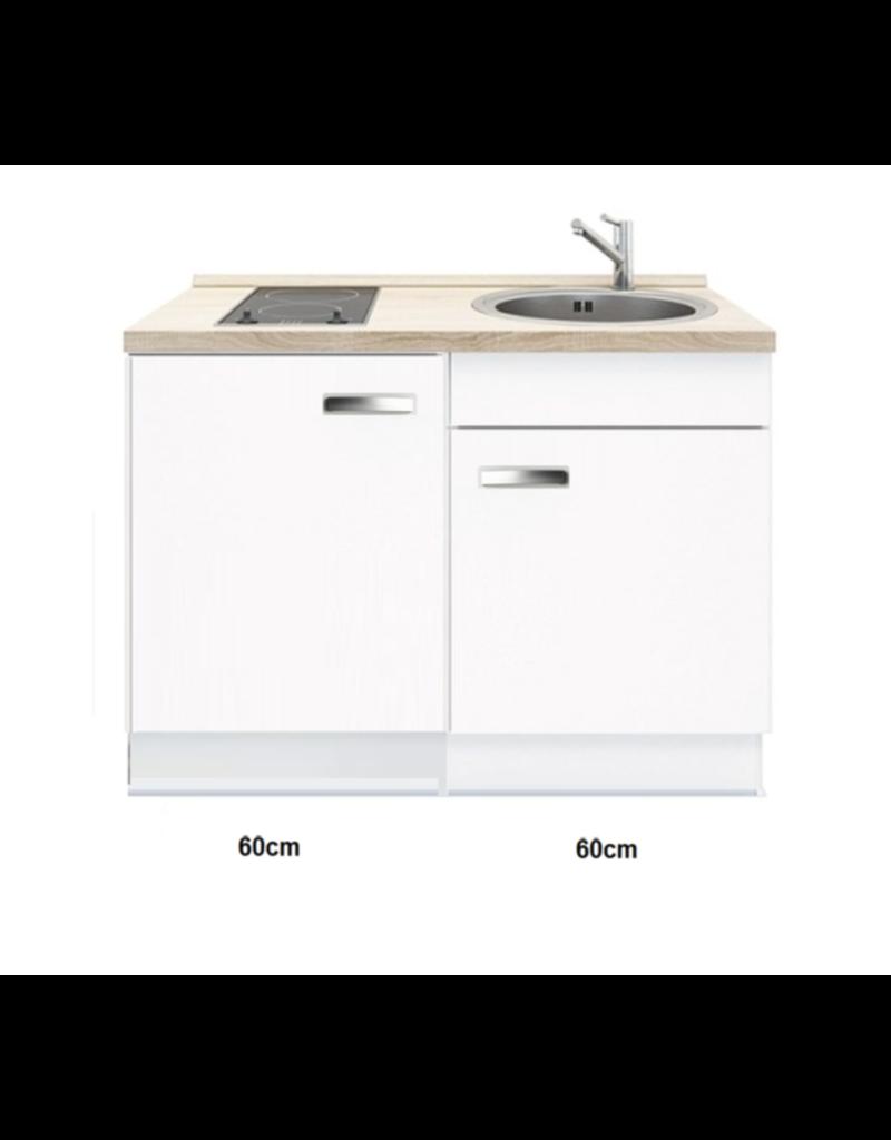 Keukenblok met inbouw koelkast en kookplaat 120cm KIT-441