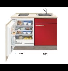 Keukenblok Rood hoogglans met inbouw koelkast en kookplaat 120cm KIT-4422