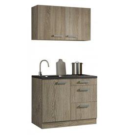 Minikeuken 100cm houtnerf met wandkasten en e-kookplaat KIT-33012