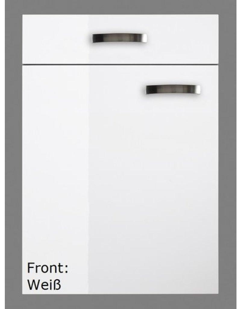 minikeuken 100cm wit hoogglans met bovenkasten en e-kookplaat KIT-11002