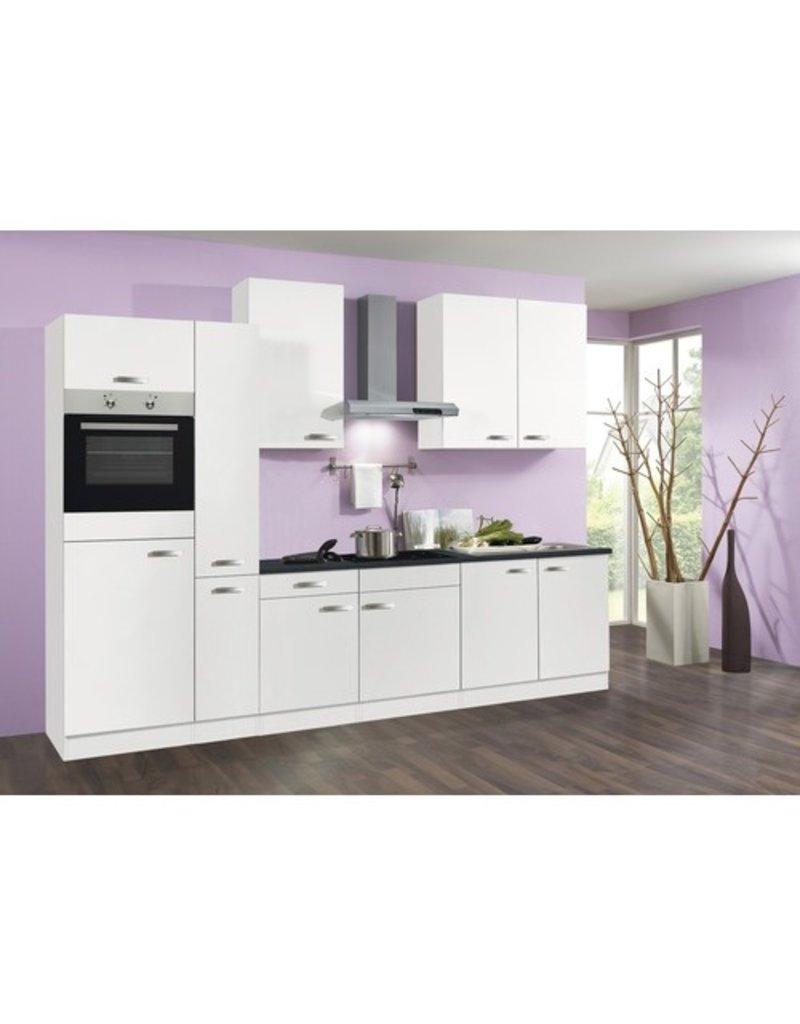 Keuken 310cm wit incl oven, koelkast, kookplaat en afzuigkap KIT-1649