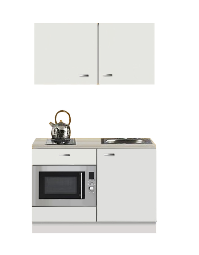 Kitchenette wit Hoogglans 120cm met onderbouw magnetron KIT-110