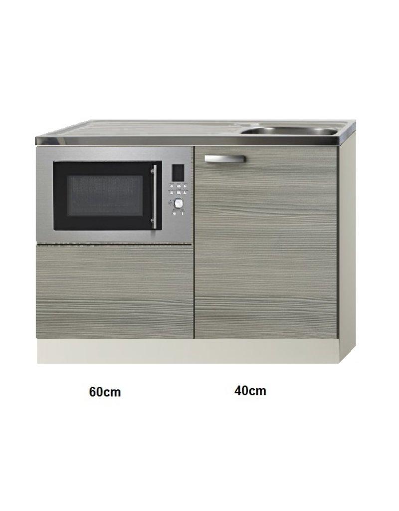 Keukenblok 100cm Grijs-bruin met magnetron KIT-515