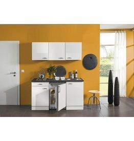 Keukenblok wit glanzend 150 cm koelkast en kookplaat met wandkasten KIT-430