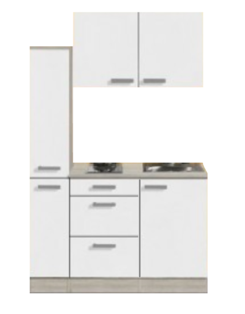 Kitchenette Genf 130cm met apothekerskast en e-kookplaat KIT-44301