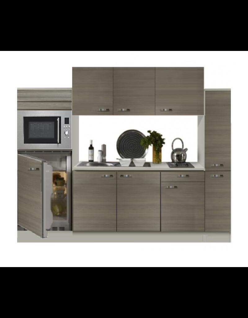 Keuken 240cm houtnerf incl koelkast, kookplaat en apothekerskast KIT-372
