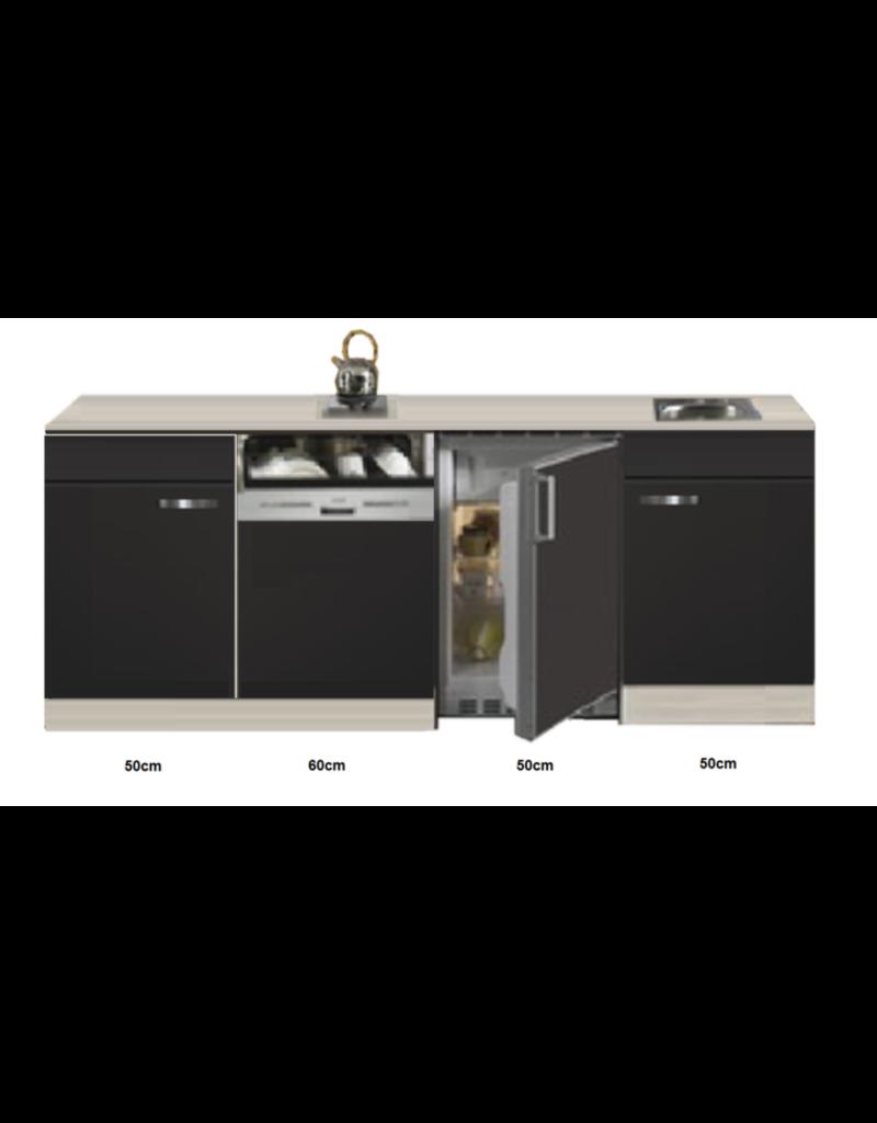 Kitchenette Faro Antraciet met koelkast en vaatwasser 210cm KIT-5385