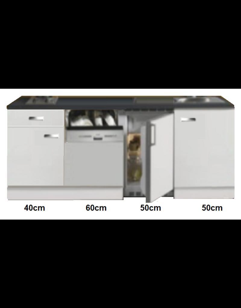 Kitchenette 200cm wit hoogglans met vaatwasser en koelkast en kookplaat KIT-447