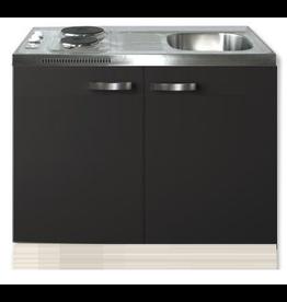 Keukenblok Faro Antraciet 100cm met twee deuren incl e-kookplaat KIT-1205