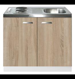 Keukenblok Padua houtnerf 100cm met twee deuren incl e-kookplaat KIT-1215