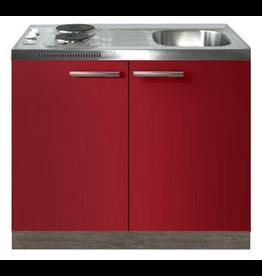 Keukenblok Rood hoogglans 100cm met twee deuren incl e-kookplaat KIT-1216