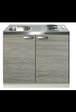 Keukenblok Grijs-bruin 100cm met twee deuren incl e-kookplaat KIT-1226