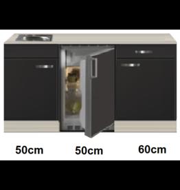 Keukenblok 160 Antraciet incl rvs spoelbak en koelkast KIT-44923