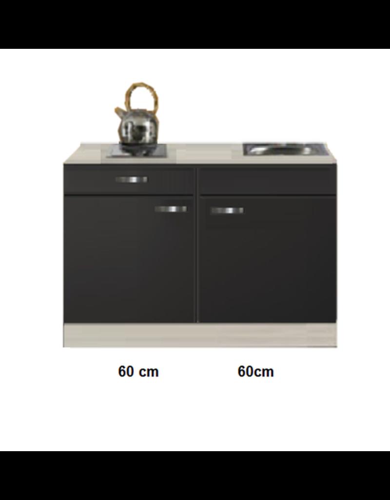 Keukenblok Antraciet 120cm DeLux met zijwanden KIT-511