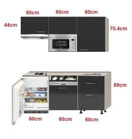 kitchenette Antraciet hoogglans 180cm met vaatwasser, koelkast, e-kookplaat, afzuigkap en magnetron KIT-0341