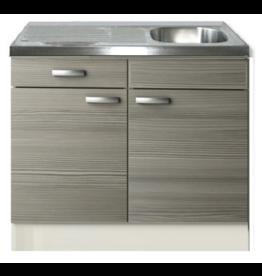 Keukenblok Vigo grijs-bruin met een la 100 x 60 cm KIT-2020