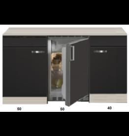 Kitchenette Faro Antraciet 140cm met koelkast KIT-123