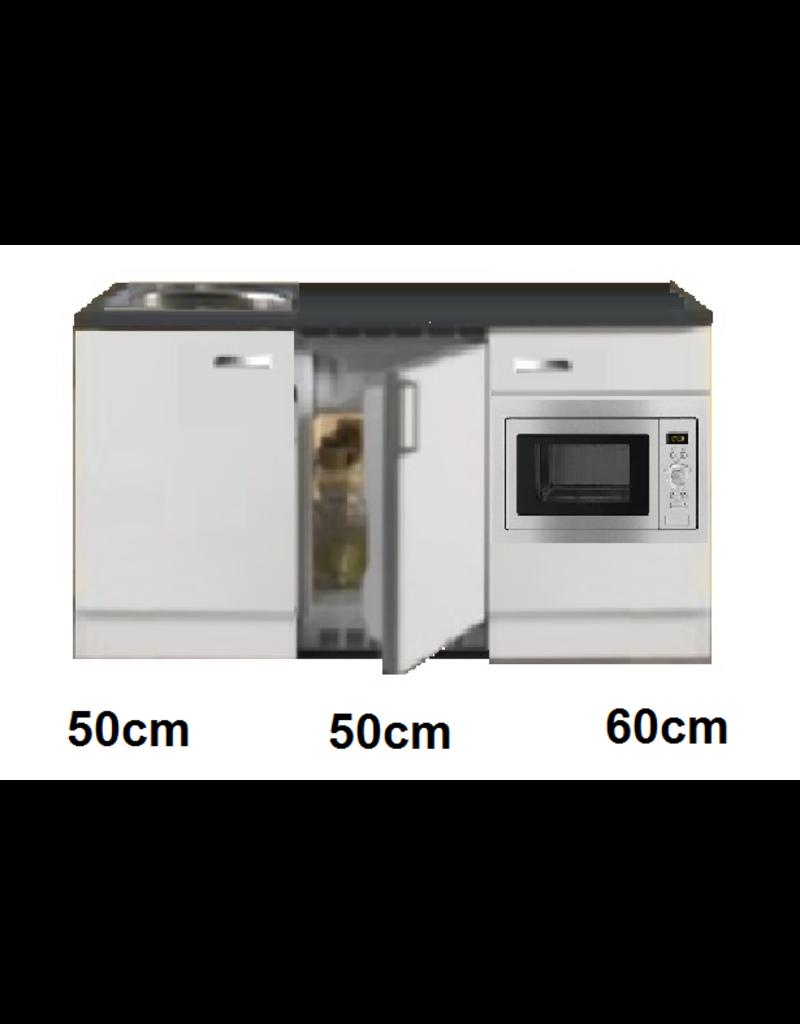 Keukenblok 160 wit hoogglans incl rvs spoelbak en koelkast en magnetron KIT-514