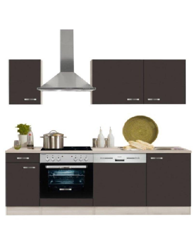 keukenblok 210 cm Faro, antraciet incl e-apparaten mat KIT-127