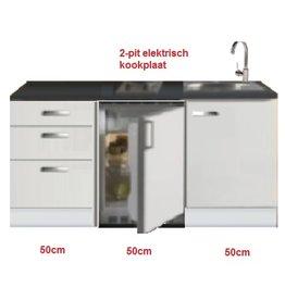 Kitchenette 150cm wit hoogglans met koelkast en kookplaat KIT-53