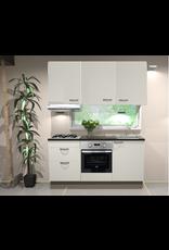 Keukenblok 180cm wit hoogglans incl gas-kookplaat, afzuigkap en combi magnetron KIT-2458