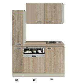 Keukenblok Padua 130cm met vaatwasser en apothekerskast KIT-440
