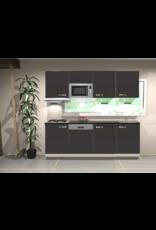 Keukenblok 200 cm Antraciet mat incl gas-kookplaat, afzuigkap, vaatwasser en magnetron KIT-120